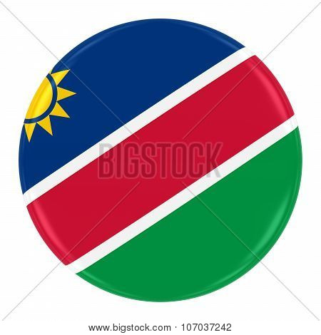 Namibian Flag Badge - Flag Of Namibia Button Isolated On White