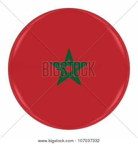 Moroccan Flag Badge - Flag Of Morocco Button Isolated On White