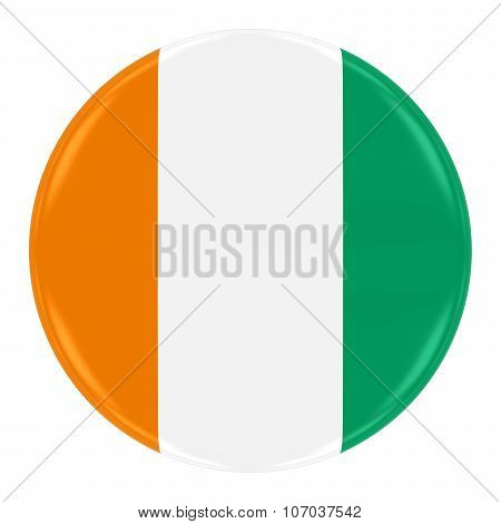 Ivorian Flag Badge - Flag Of The Ivory Coast Button Isolated On White