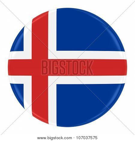 Icelandic Flag Badge - Flag Of Iceland Button Isolated On White