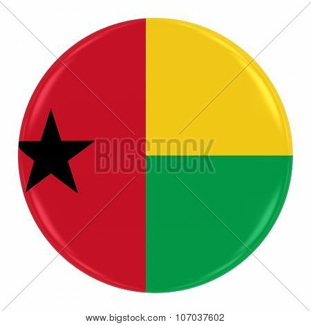 Bissau Guinean Flag Badge - Flag Of Guinea Bissau Button Isolated On White