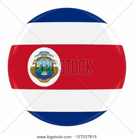 Costa Rican Flag Badge - Flag Of Costa Rica Button Isolated On White