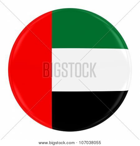 United Arab Emirates Flag Badge - Flag Of The Uae Button Isolated On White