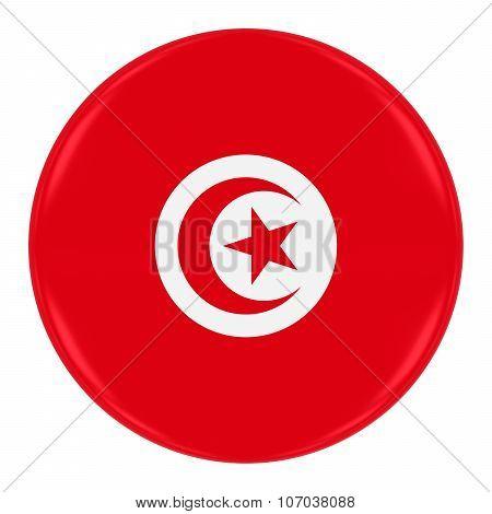Tunisian Flag Badge - Flag Of Tunisia Button Isolated On White