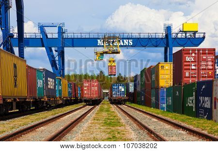 CZECH REPUBLIC, NYRANY,  27 APRIL,  2015: Nyrany container terminal. Industrial crane loading contai
