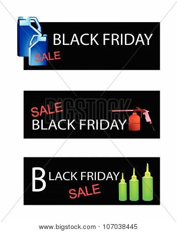 Engine Oil Packaging On Black Friday Sale Banners