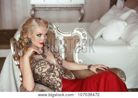 Fashion Beauty Portrait Of Beautiful Sensual Blond Woman With Makeup Elegant Lady In Prom Evening Pa