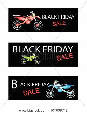 Motorcycle On Three Black Friday Sale Banners
