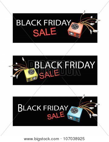 Power Supply Box On Three Black Friday Sale Banners