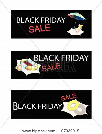 Beach Items On Three Black Friday Sale Banners