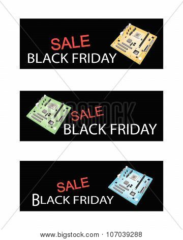 Computer Motherboard On Black Friday Sale Banners