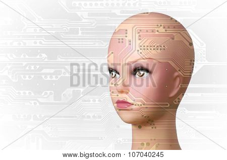 Double exposure of a mannequin head and a circuit board
