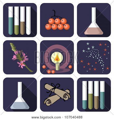 Nine Alchemical Or Perfume Icons