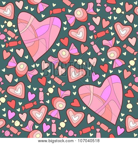 Pattern Of Sweet Candy And Hearts For Valentine's Day
