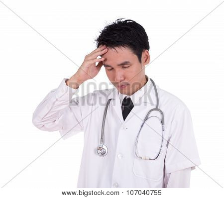 Doctor Hold The Head With Hand, Worried, Strain , Headache