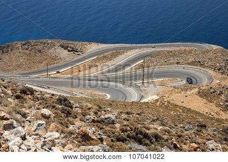 Winding road on the coast of Crete