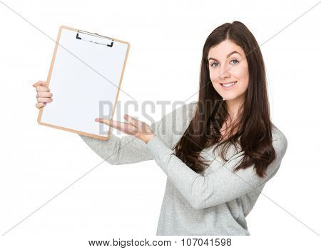 Woman show with the clipboard