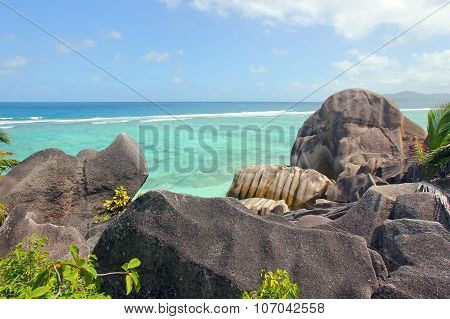 Unusually Beautiful Rocks On The Beach Of The La Digue Island, Seychelles