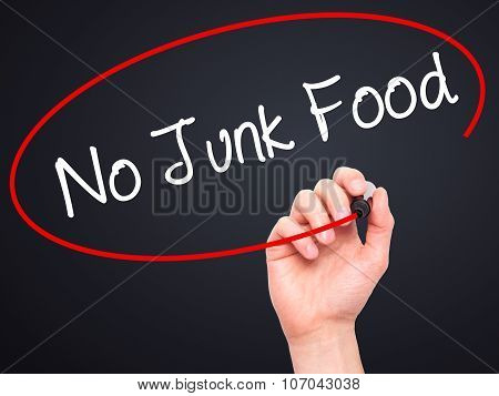 Man Hand writing No Junk Food with black marker on visual screen.