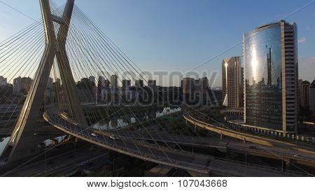 SAO PAULO, BRAZIL - CIRCA NOVEMBER 2015: Estaiada bridge in Sao Paulo, Brazil