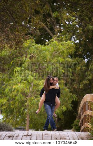 Passionate couple having fun at the park