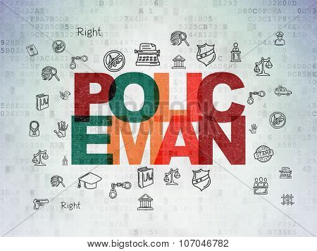 Law concept: Policeman on Digital Paper background
