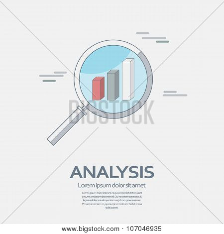 Business Analysis symbol with magnifying glass line icon and chart.