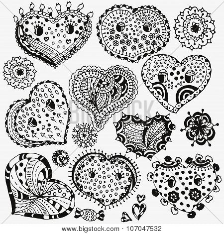 Set of hand-drawn cute hearts and flowers.  Each element in the group. Ink pen Stock vector