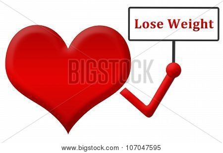 Lose Weight Heart Holding Signboard