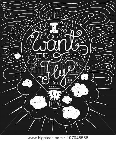 Doodle Typography Poster With Air Balloon