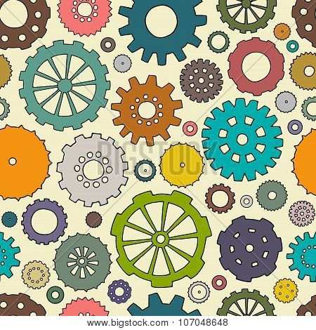 Cartoon Bright Seamless Pattern With Doodle Gears