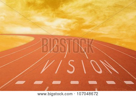 Outdoor Running Track With Sign Vision At Sunset