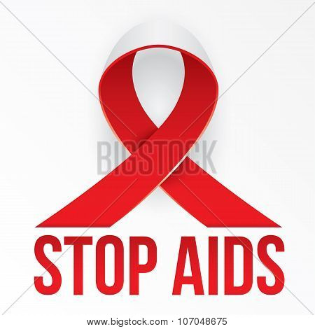 The photorealistic red ribbon is the global symbol for solidarity with HIV-positive people and those