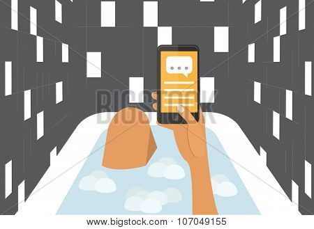 Woman in a bath chating with smartphone. Flat design vector illustration.