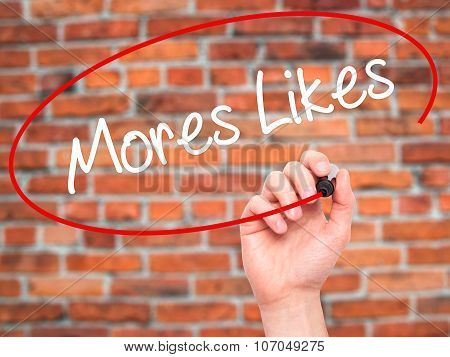 Man Hand writing More Likes with black marker on visual screen.