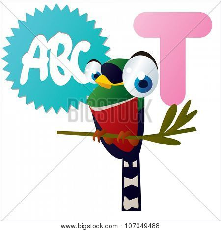 vector cartoon funny animals alphabet: T is for Trogon