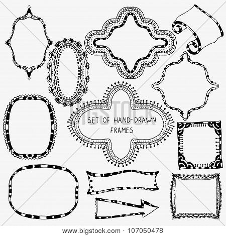 Hand drawn set of frames and banners.  Stock vector Black and white background