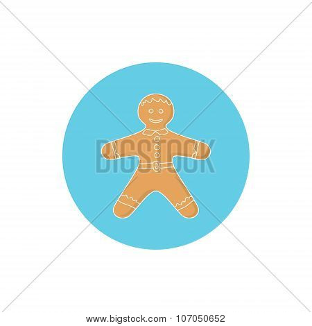 Icon Colorful Gingerbread Man
