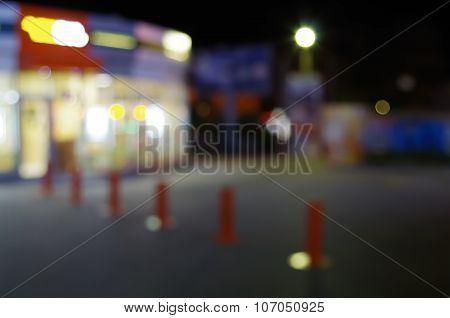 Defocused Night Urban Scene With Blurred Lights