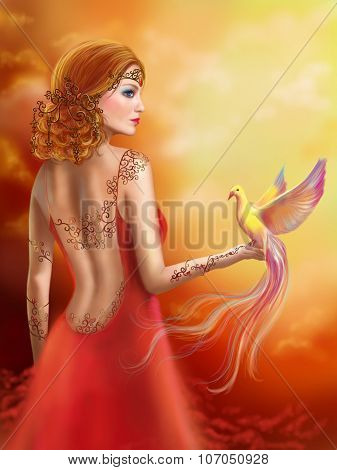 Fantasy beautiful woman fairy and bird