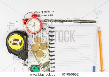 Copybook with drawings and cash