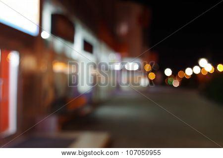 Night Urban Scene With Diffuse Lighting Shop Windows