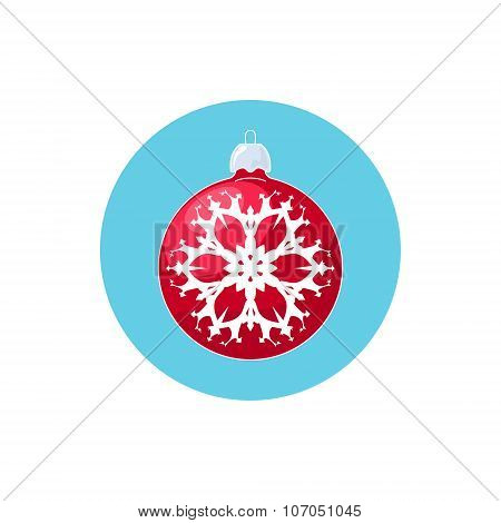 Icon Red Ball with Snowflake