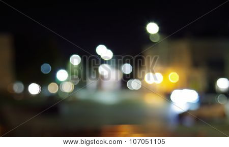 Defocused And Blur City Night Scene With Blurred Lighting
