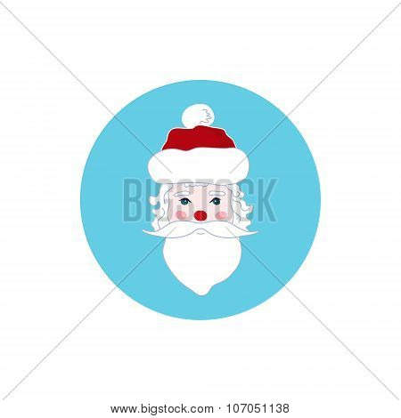 Colorful Icon Santa Claus Face, Merry Christmas