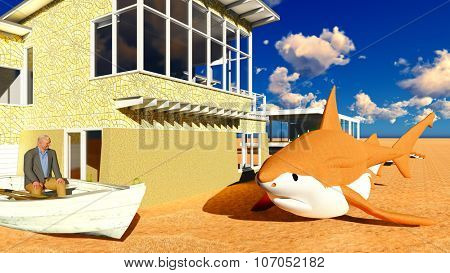 Shark lying on the ground in front of building with elderly man looking at it
