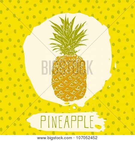 Pineapple Hand Drawn Sketched Fruit With Leaf On Blue Background With Dots Pattern. Doodle Vector Pi