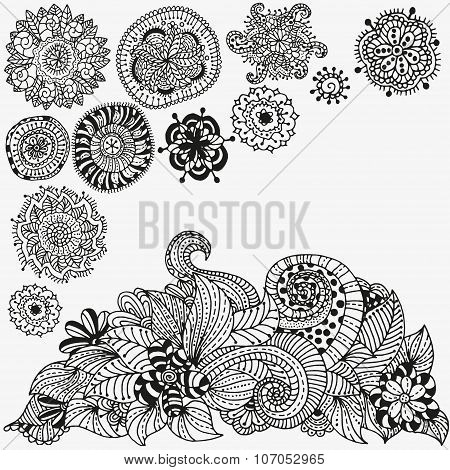 Floral doodle. Black and white pattern in vector. doodle, henna. Tribal.