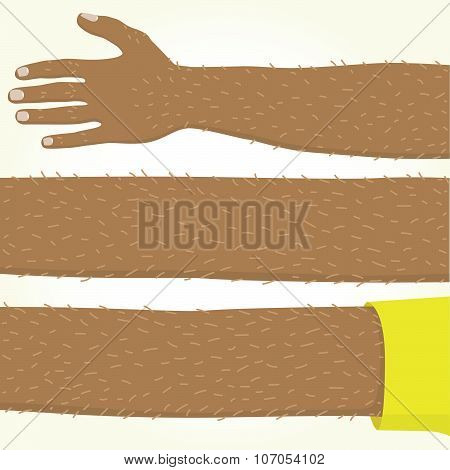 Long afro american hand isolated vector