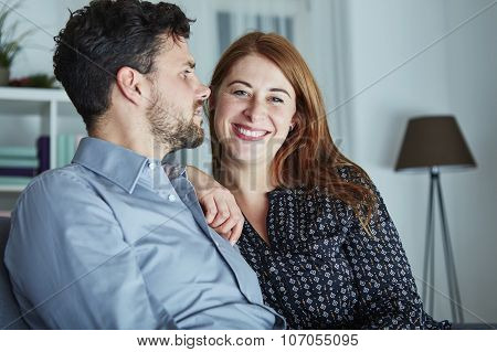 Christmas Couple Is Happy And Laugh